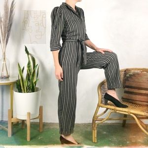 Vintage 80's Puff Sleeve Striped Jumpsuit